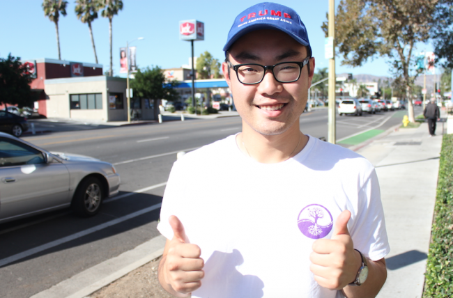 "Anthony Kim, A 23-year-old CTVA major and Donald Trump supporter— ""[Trump's] base of support is just so diverse, so eclectic...It's people who just really want to see something different."" Photo credit: Robert Spallone"