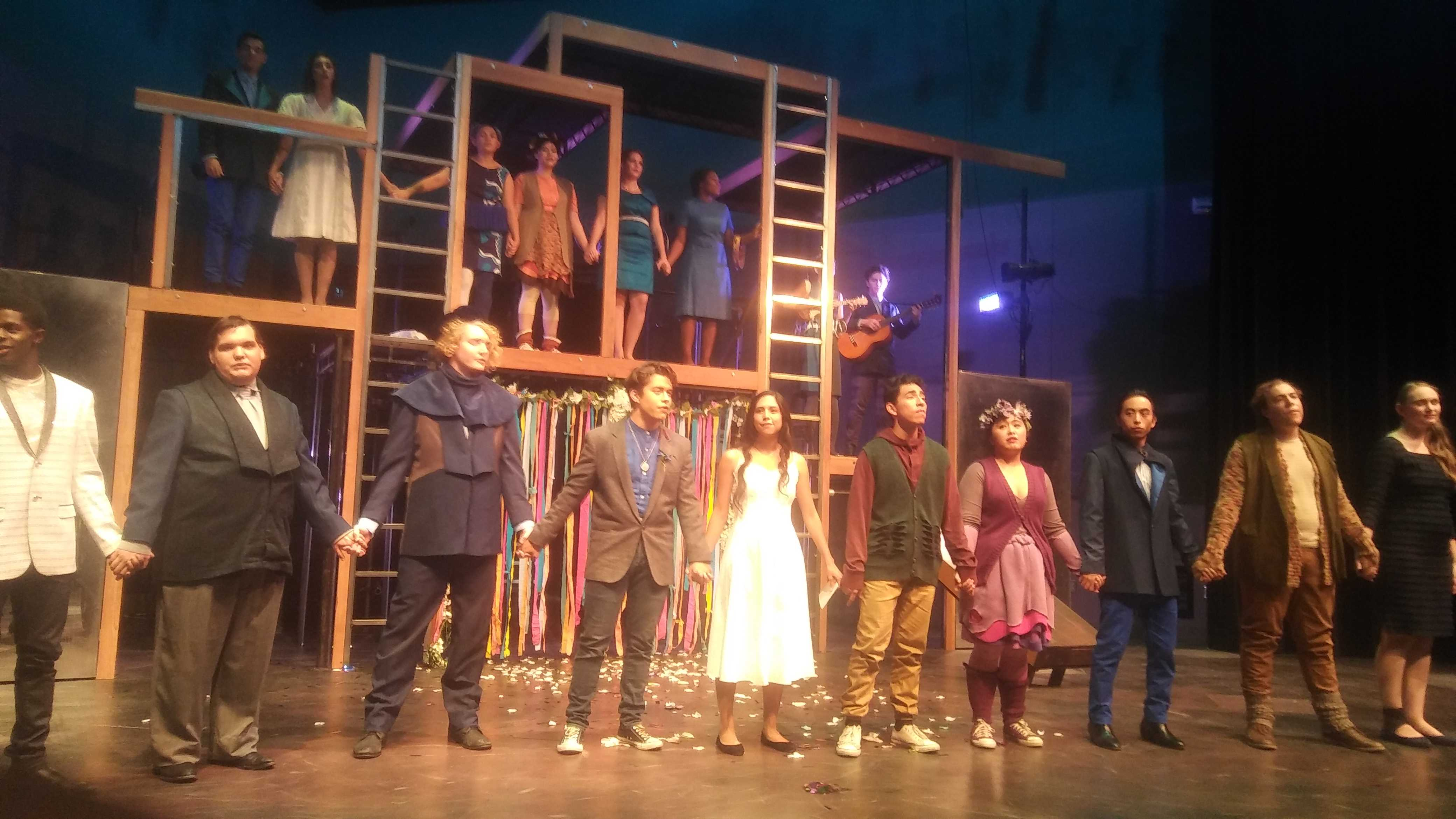 Cast of CSUN play joins hands onstage