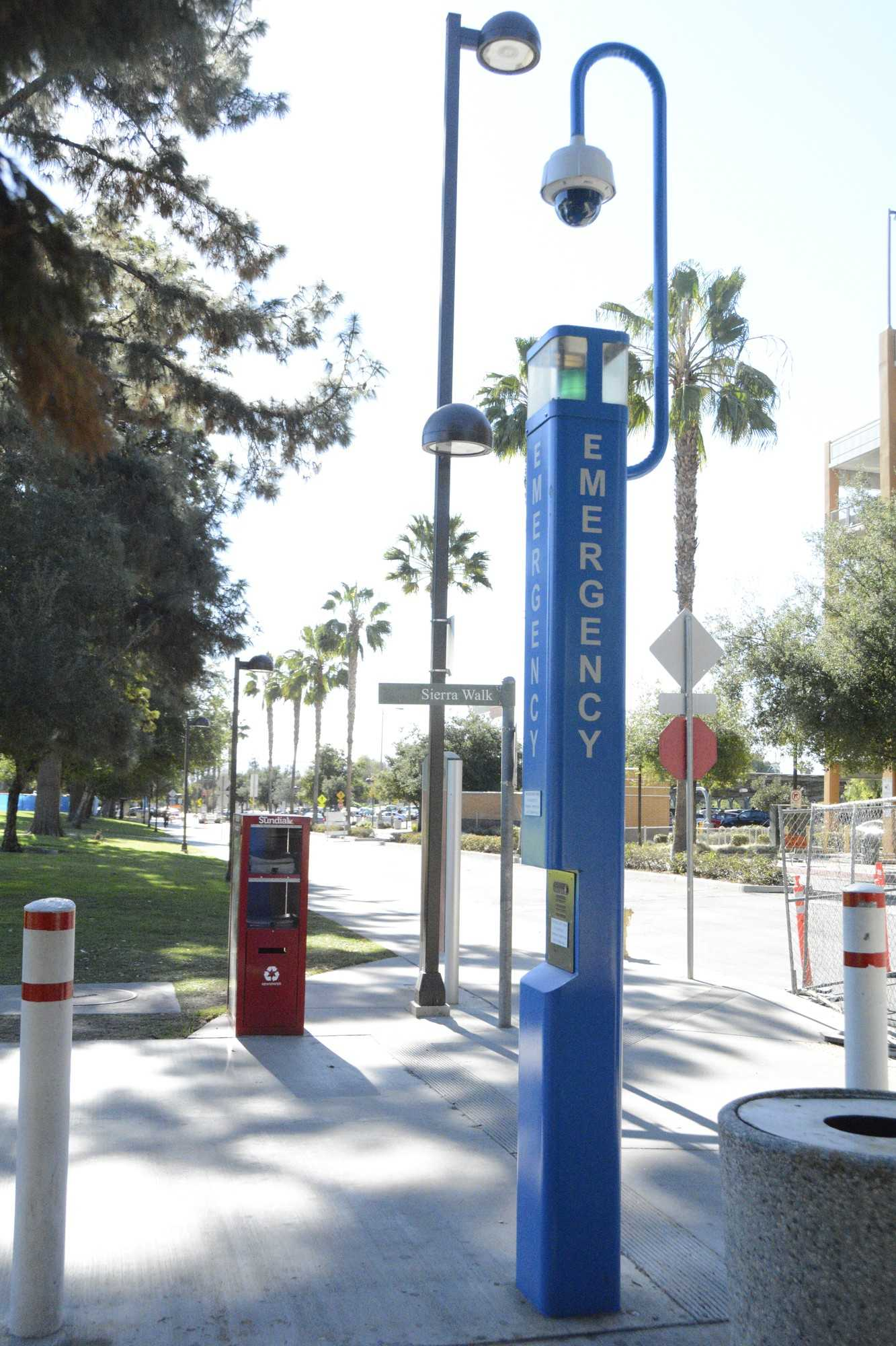 Photo of blue emergency box at CSUN