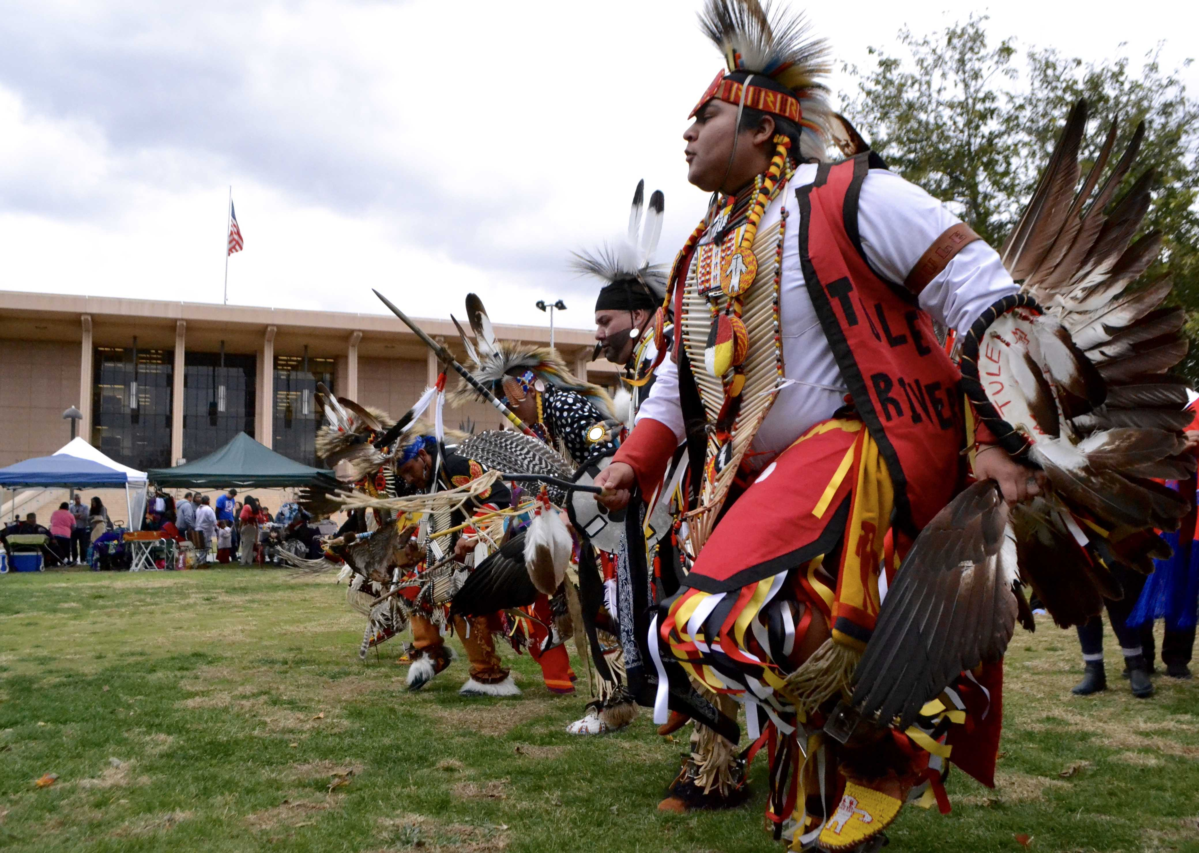 Native American dancers during their grand entry at the CSUN's 33rd Annual Pow Wow November 26, 2016. Photo credit: Stacey Arevalo