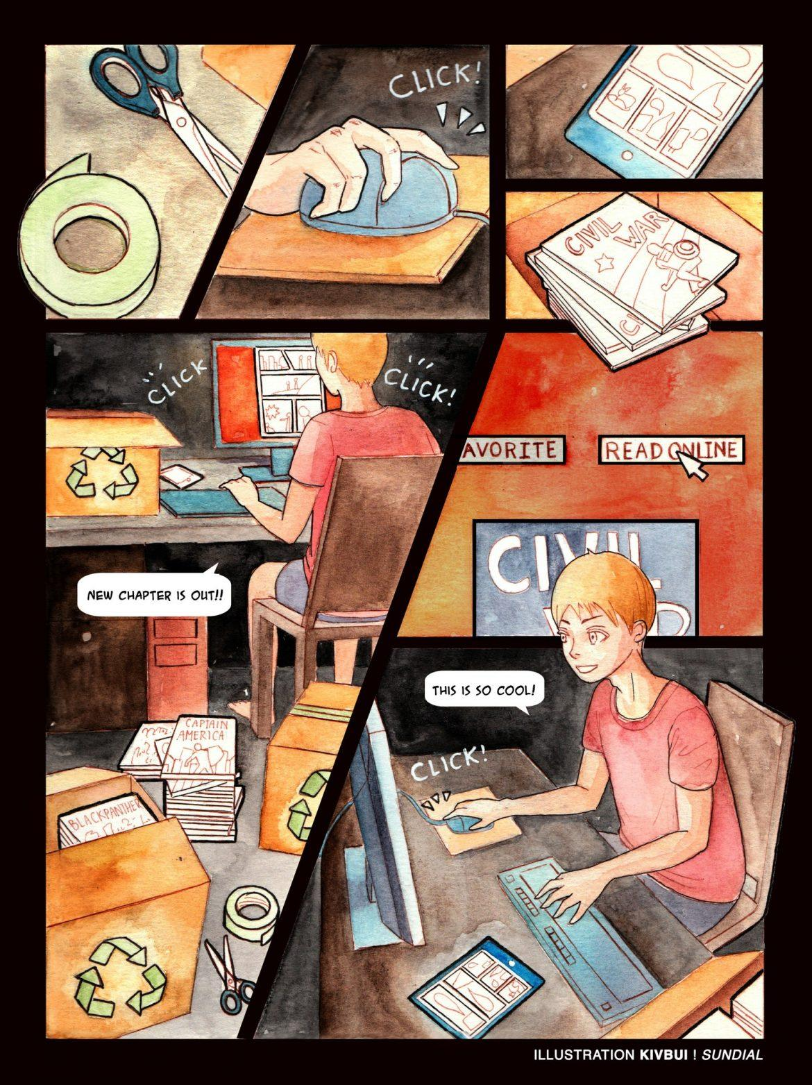 Comic shows a man reading online comics while his print comics are shoved into the recycle bin