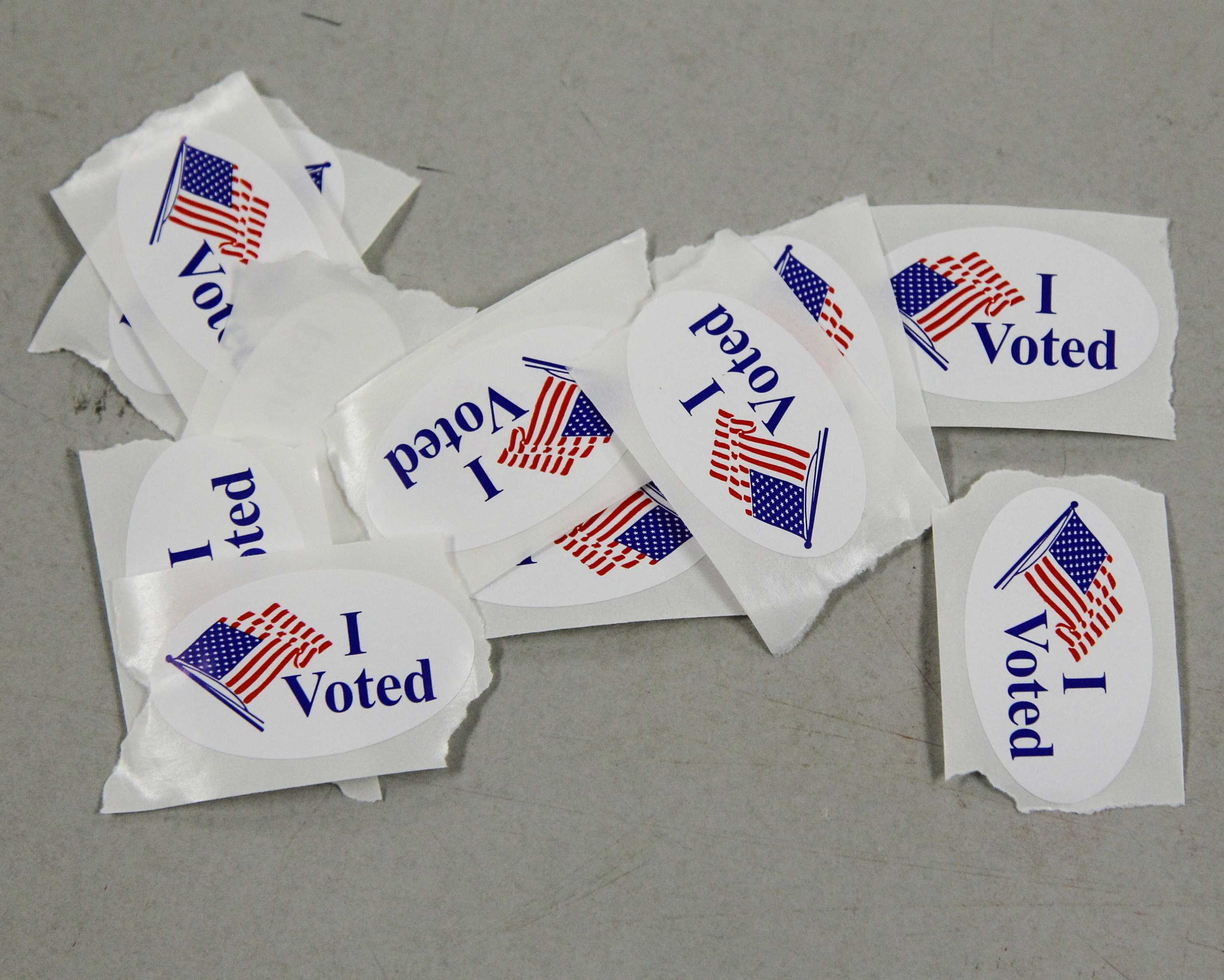 "Photo shows several ""I voted"" stickers"