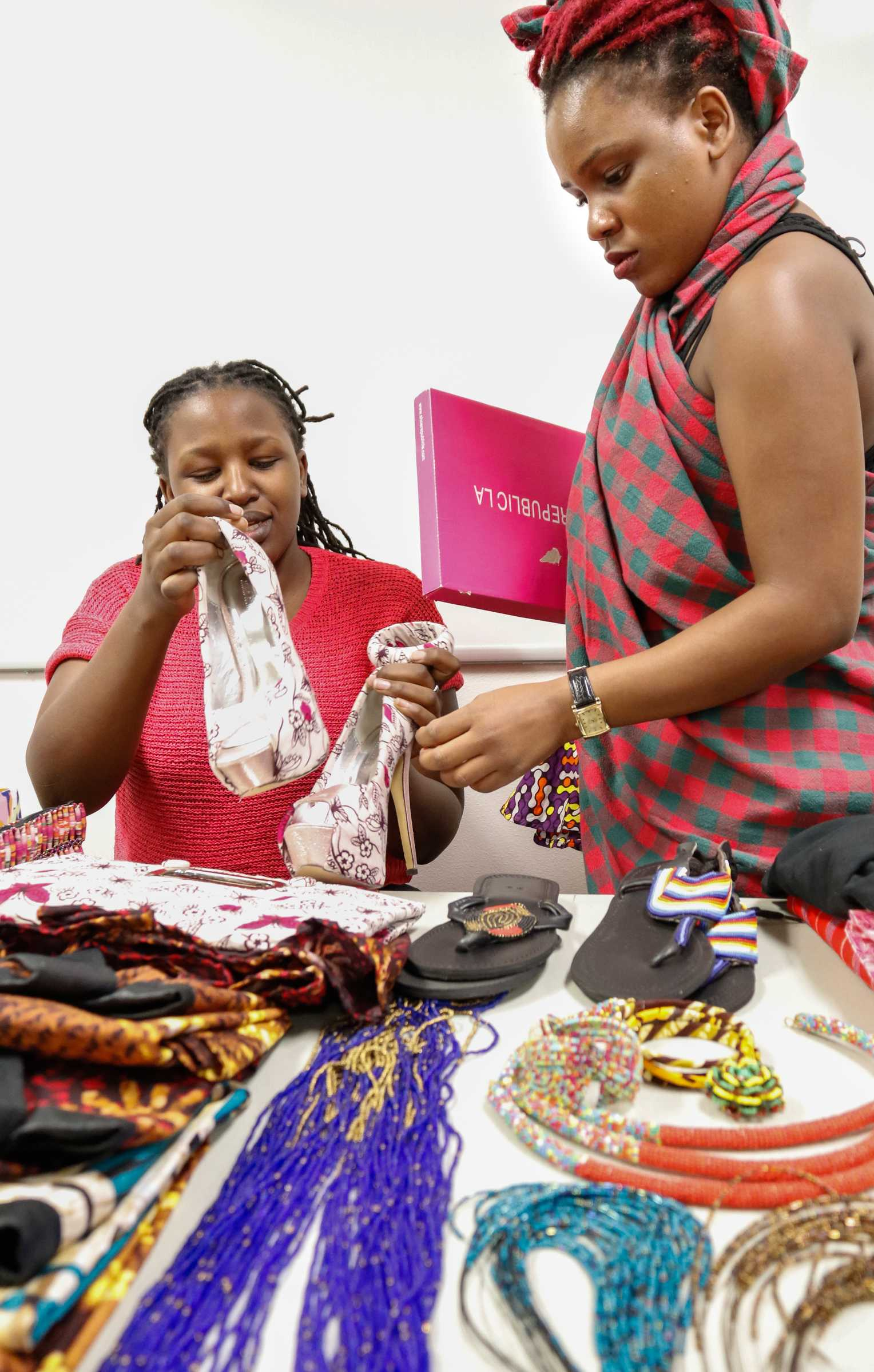 CSUN student shown shopping at clothing and jewelry booth