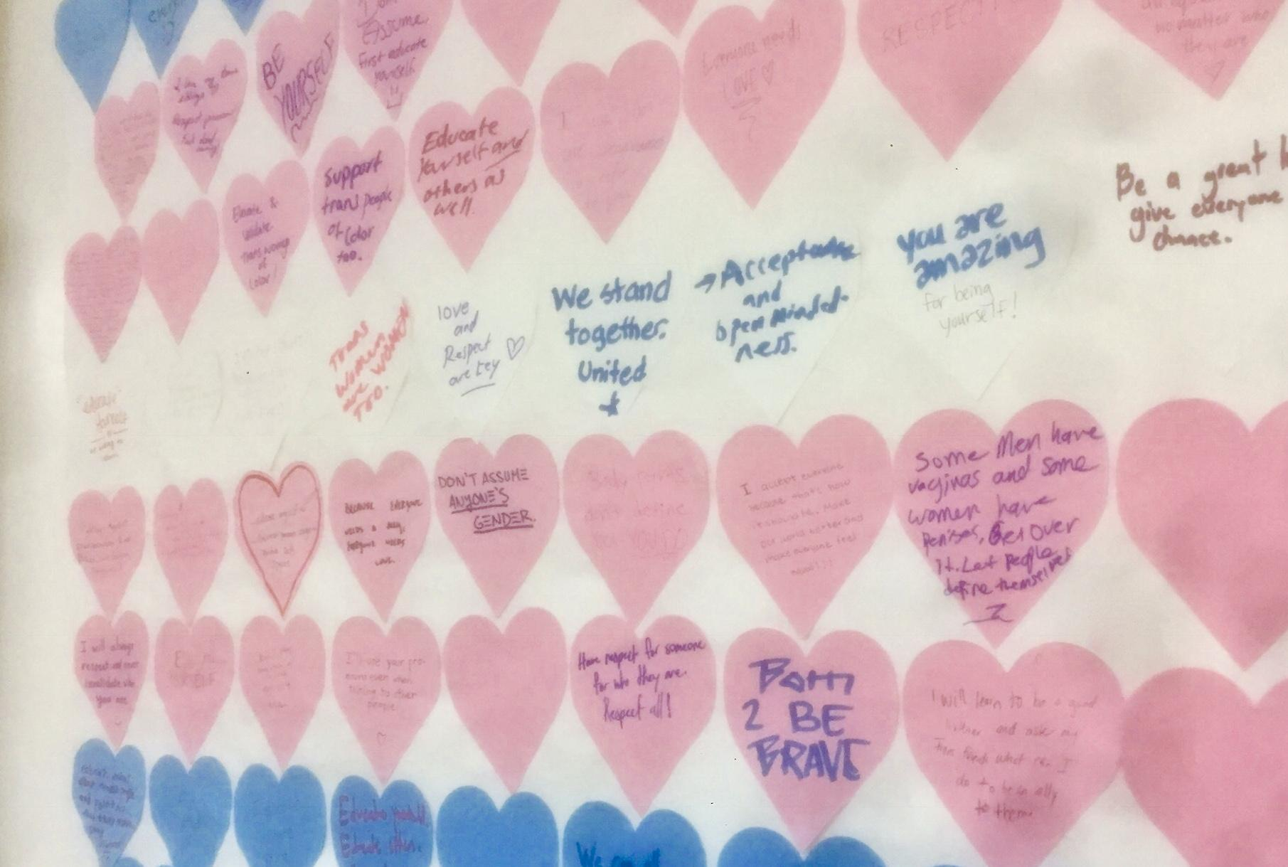 Heart-notes pictured with positive messages