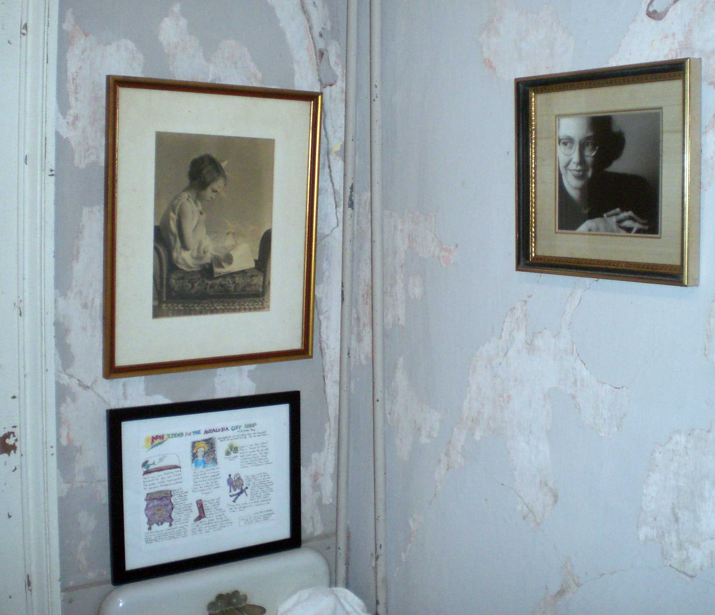 Home shown with pictures of Flannery O' Connor adorning the walls