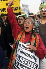 Protesters chant in resistance of the Dakota Access Pipeline