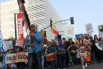 People march through the streets of downtown LA during standing rock protest