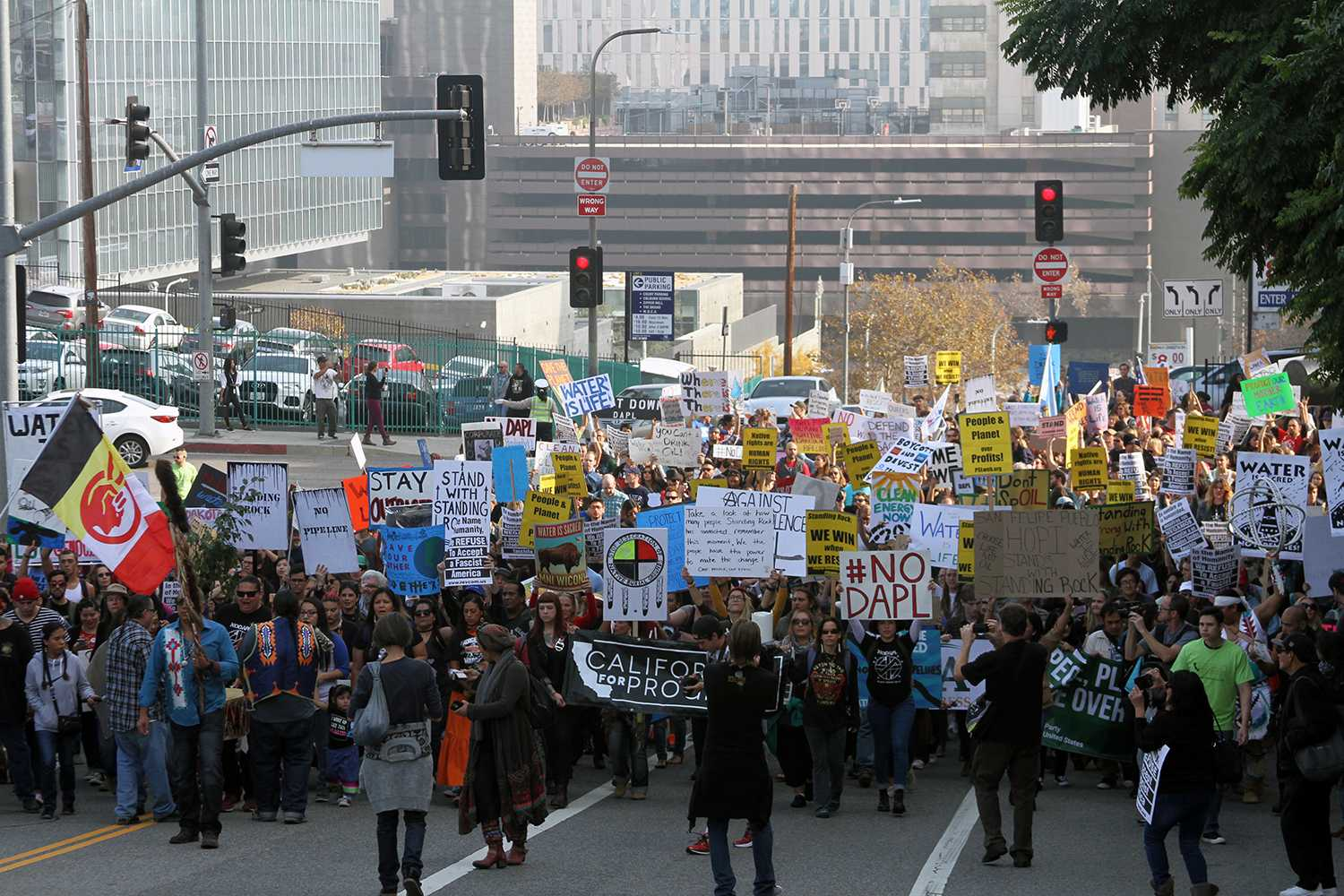 NoDAPL(No Dakota Access Pipeline) demonstrators marching in Pershing Square in Downtown Los Angeles, Dec 10, 2016. Photo Credit: Anoil Servenous