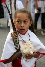 young girl participates in protest