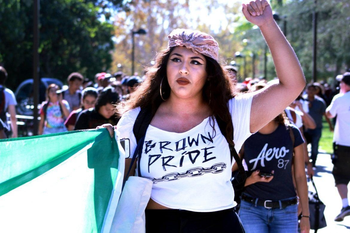 Woman+protests+with+shirt+that+reads%2C+%22brown+pride%22