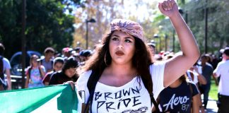 """Woman protests with shirt that reads, """"brown pride"""""""