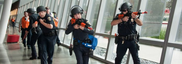 CSUN police have a practice training while carrying fake guns in the SRC