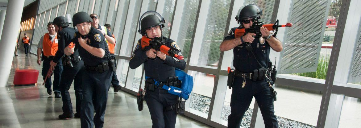 CSUN Police Department officers practice training for active shooter situations on campus. (Photo credit: Luis Garcia/University Advancement)