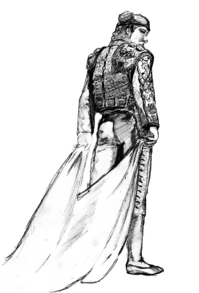 Charcoal illustration of CSUN mascot, Matty the Matador