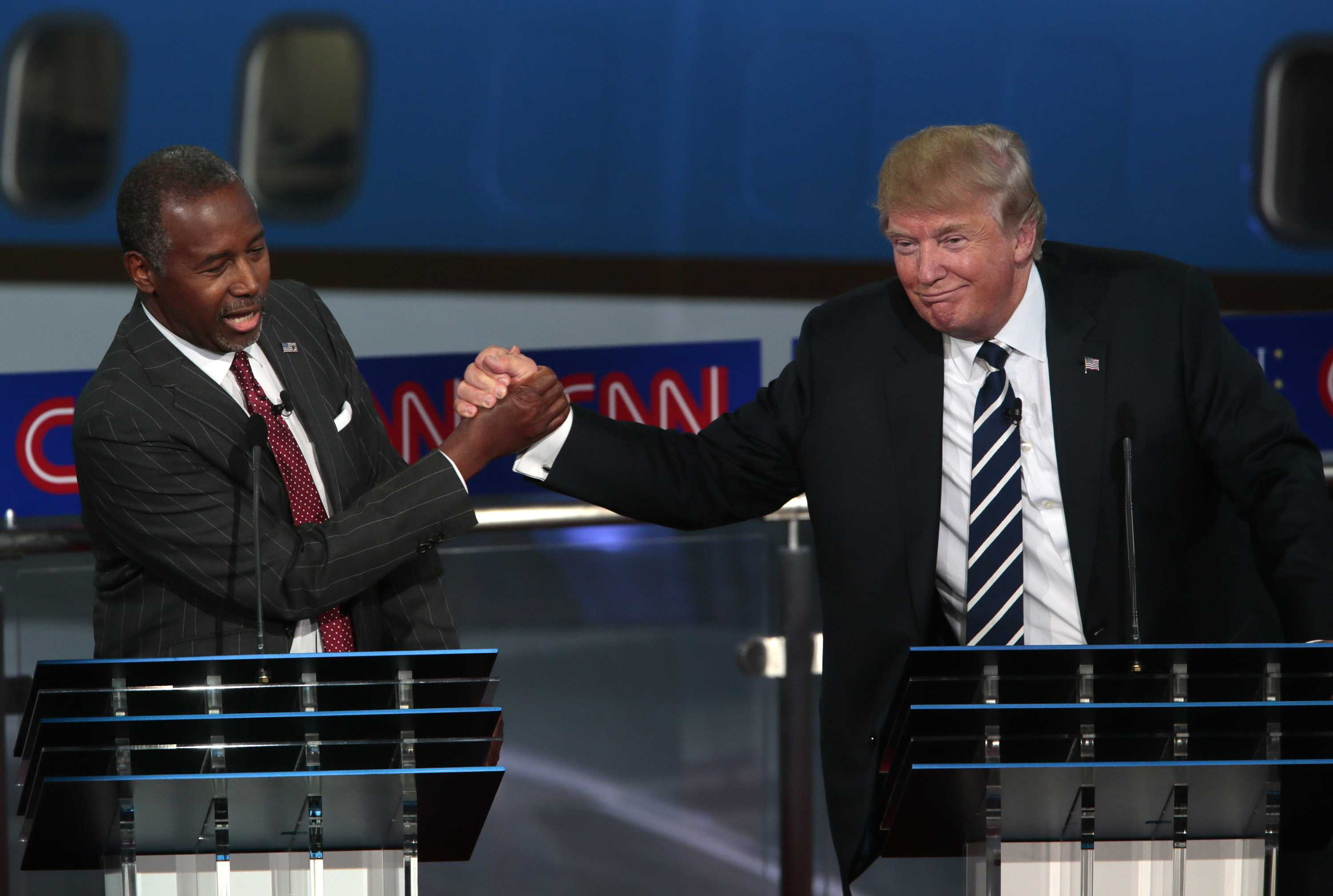Republican presidential candidates Ben Carson, left, and Donald Trump during the GOP debate at the Reagan Library in Simi Valley, Calif., on Wednesday, Sept. 16, 2015. (Robert Gauthier/Los Angeles Times/TNS)
