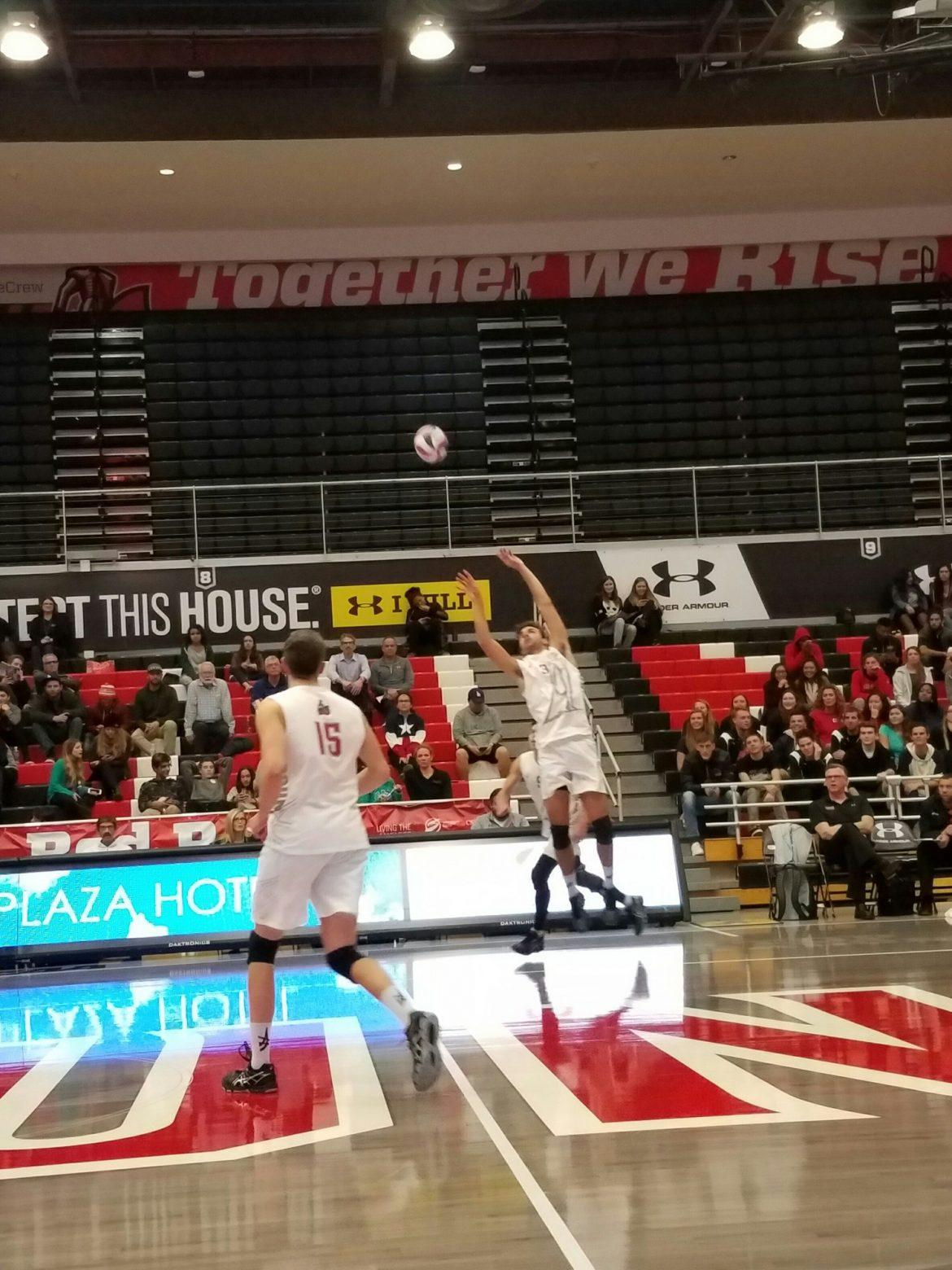 CSUN+men%27s+volleyball+sets+up+the+ball+to+get+it+over+the+net+and+score+over+the+Kingsmen.+Photo+credit%3A+Tera+Trujillo