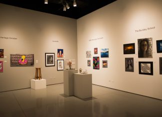 The CSUN art and design center is pictured with a variety of works in different mediums