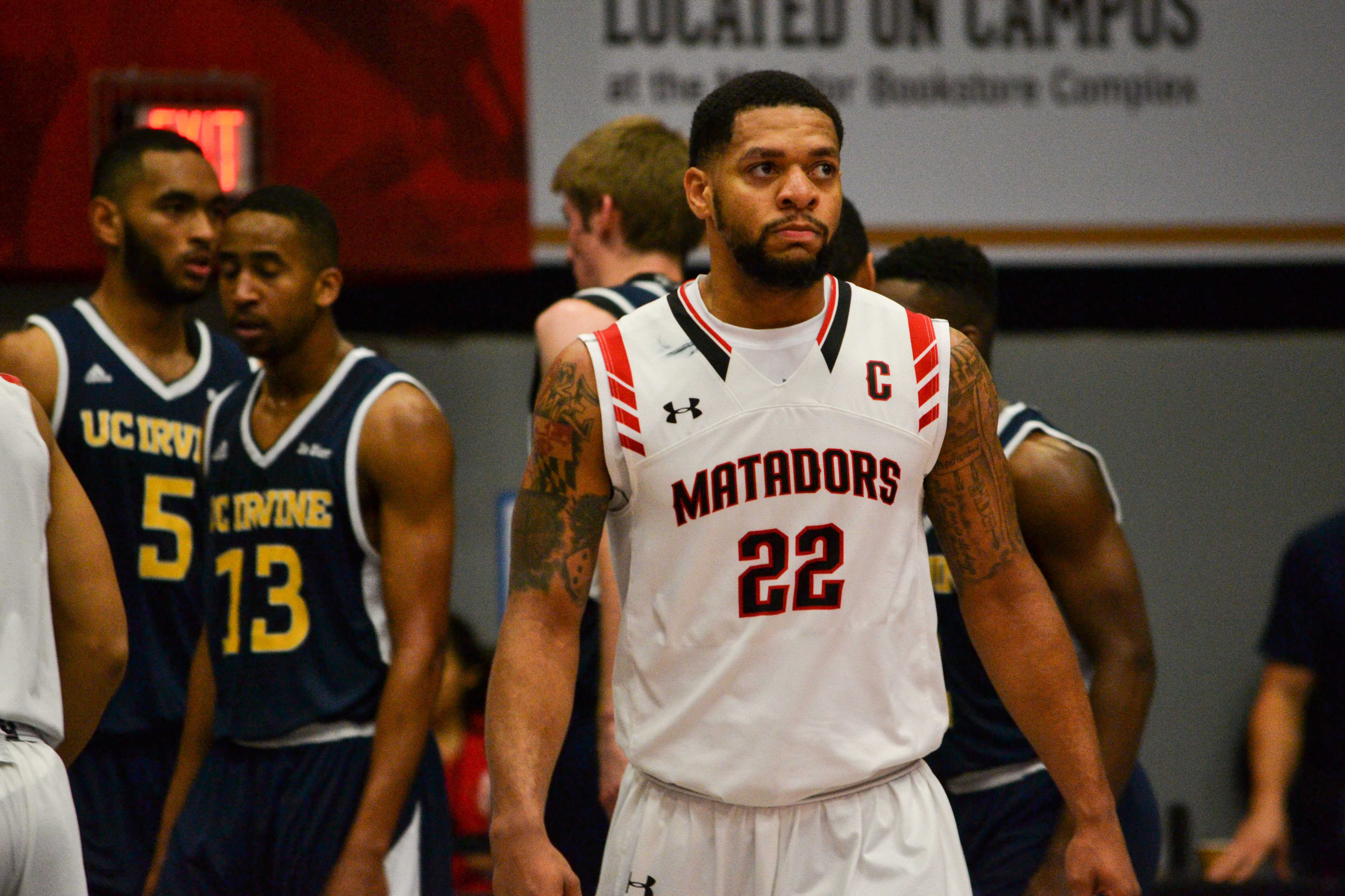 CSUN's Senior guard Aaron Parks, anxiously checking the score board at the game on Saturday, January 21st. Photo credit: Breaunne Pinckney