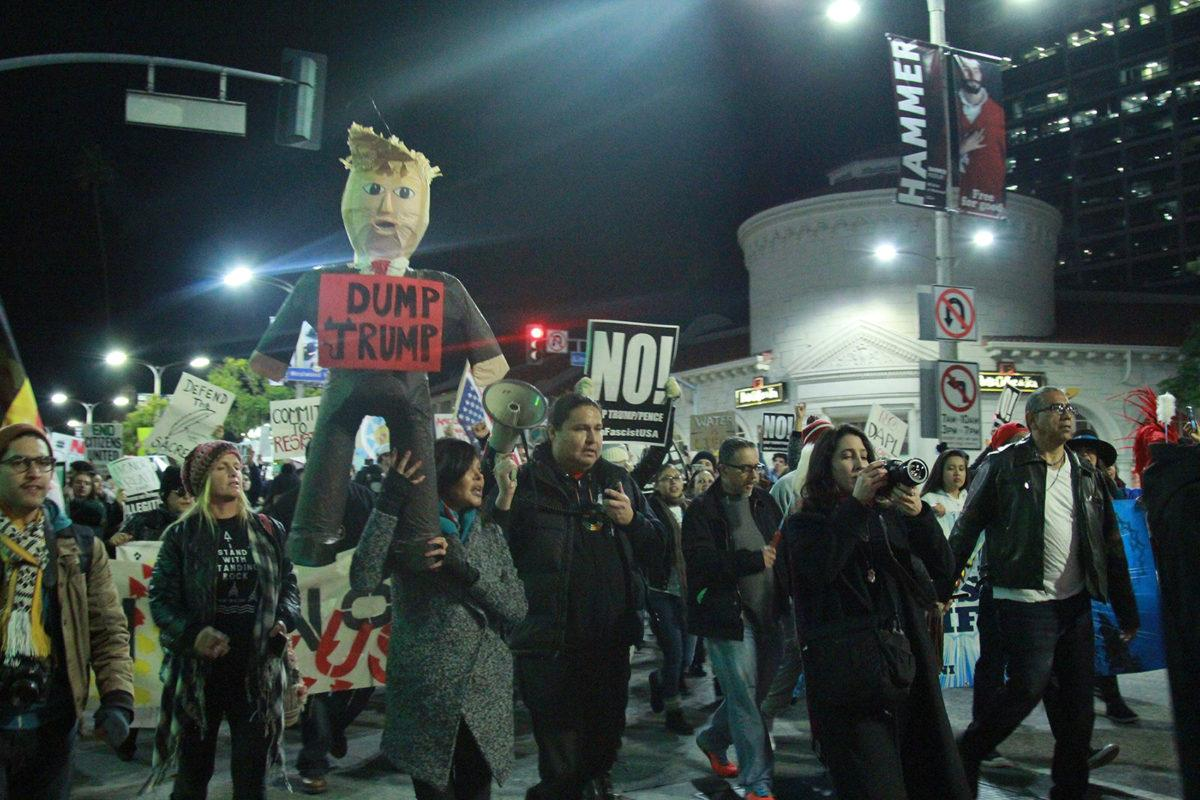 Protestors+march+in+Westwood+to+protest+Trump%27s+decision+to+proceed+with+the+construction+of+the+Keystone+XL+and+Dakota+Access+Pipeline+on+Tuesday.%28Blaise+Scemama%29