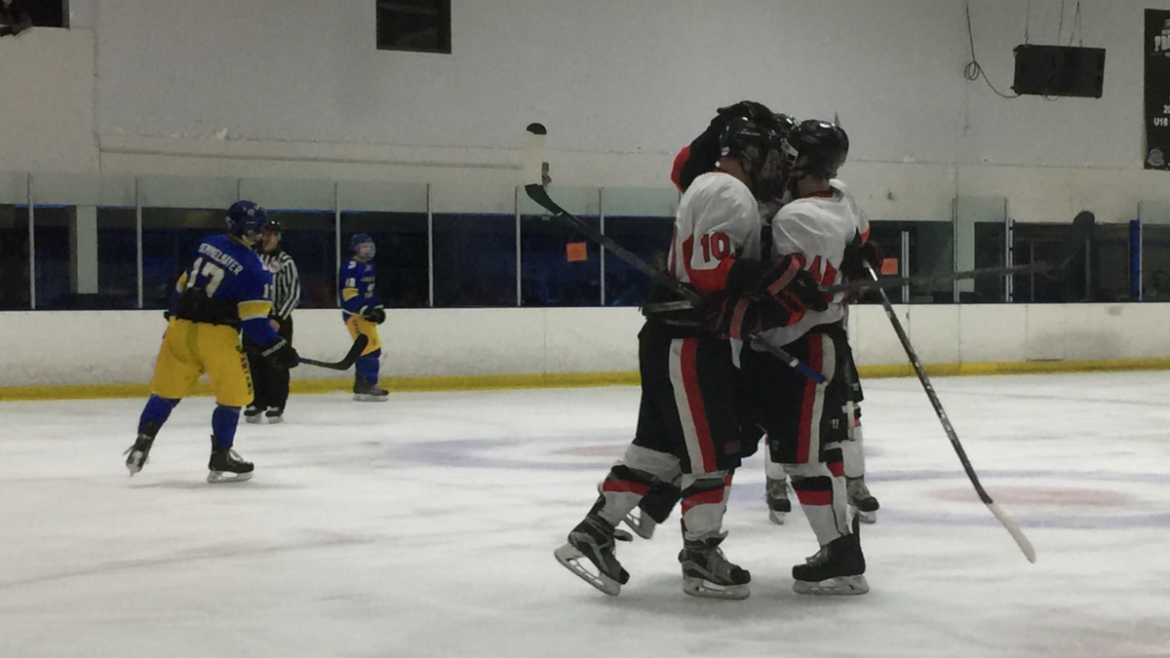 Hockey+team+members+huddle+together+in+celebration+of+their+goal