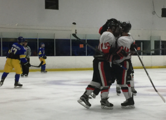 Hockey team members huddle together in celebration of their goal