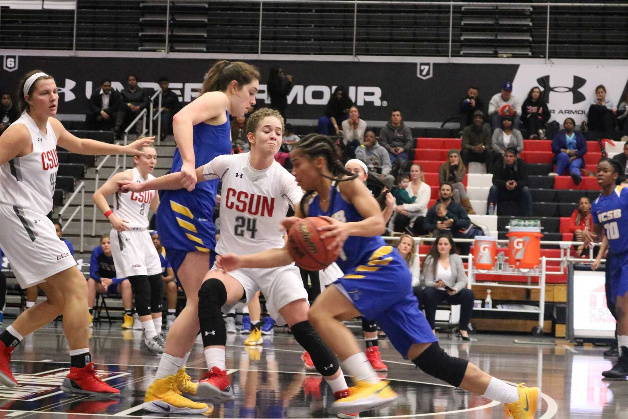 CSUN's women's basketball defends as UC Santa Barbara's Drea Toler goes in for a basket on Wednesday, January 25th. Photo credit: Lauren Valencia