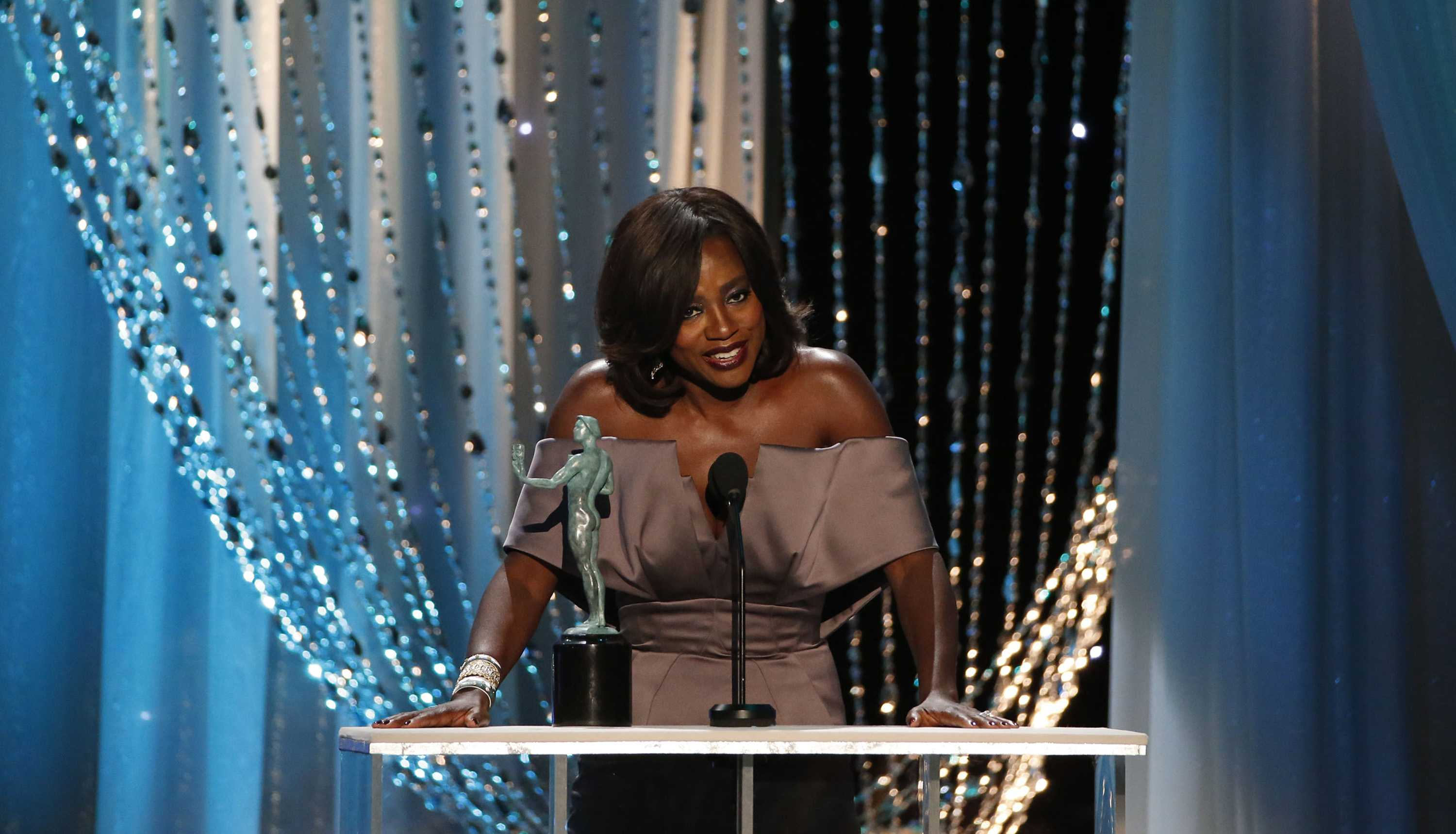 Viola Davis on stage at the 22nd Annual Screen Actors Guild Awards at the Shrine Auditorium in Los Angeles on Saturday, Jan. 30, 2016. Photo Credit,  (Robert Gauthier/Los Angeles Times/TNS)