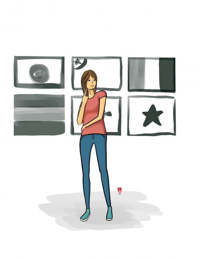 Illustration shows a woman standing in front of various countries' flags