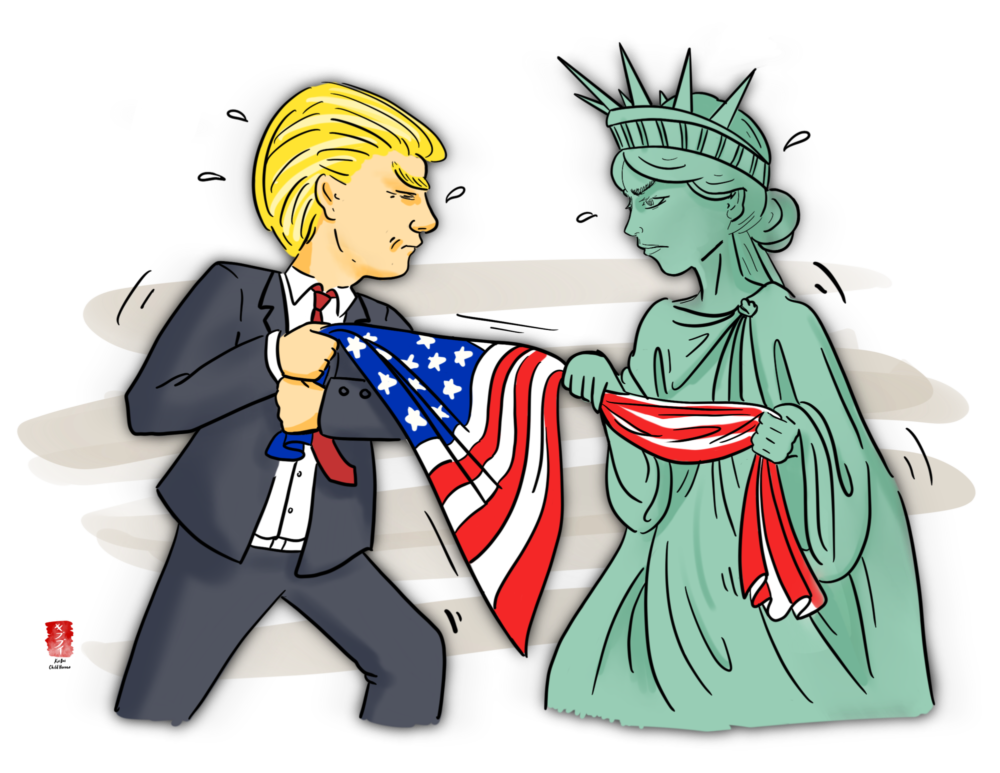 Illustration shows Trump and the Statue of Liberty playing Tug-a-war with the American flag