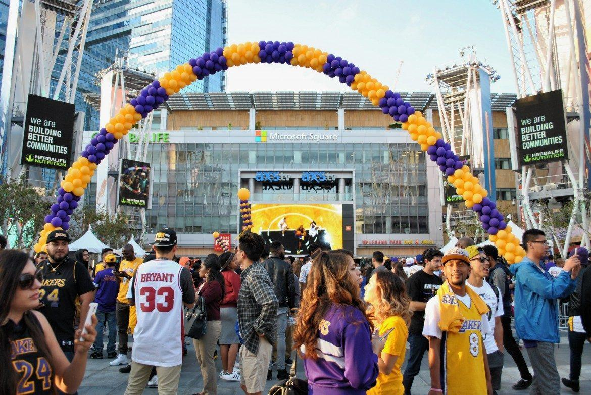 Lakers fans pictured outside of microsoft square