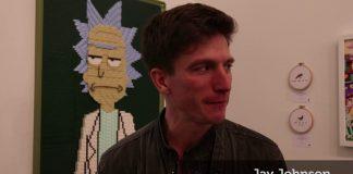 Still shows Jay Johnson being interviewed at the LA art gallery