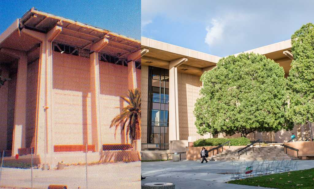 Photo+Illustration+of+Oviatt+Library.+Structural+parts+of+the+Oviatt+Library+were+damaged+during+the+earthquake+and+had+to+be+reconstructed.+Photo+credit%3A+Alejandro+Aranda+%26+Nicole+Wong