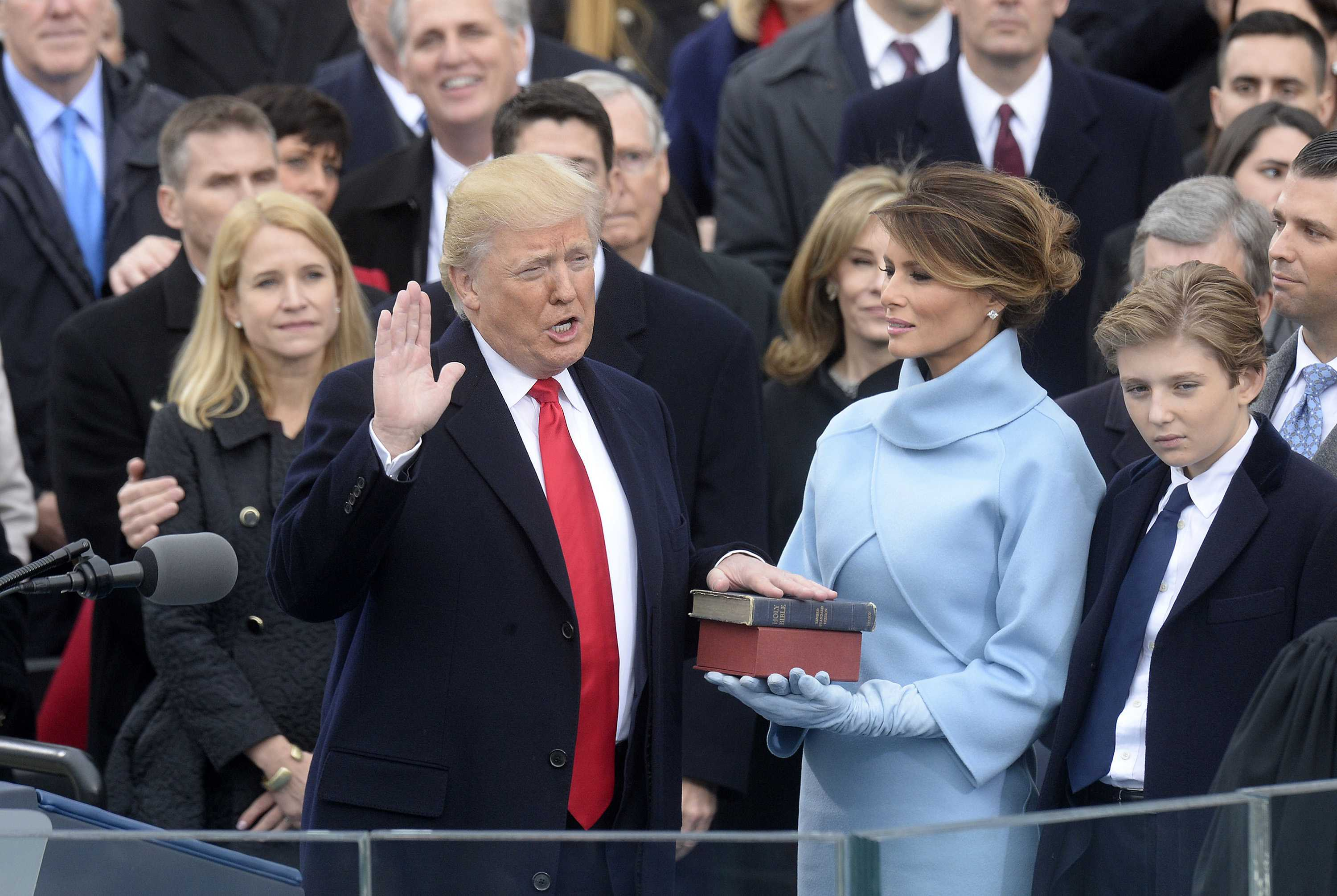 Chief Justice of the United States John G. Roberts, Jr. administers the oath of office to President Donald Trump during the 58th Presidential Inauguration on Jan. 20, 2017 in Washington, D.C. (Olivier Douliery/Abaca Press/TNS)