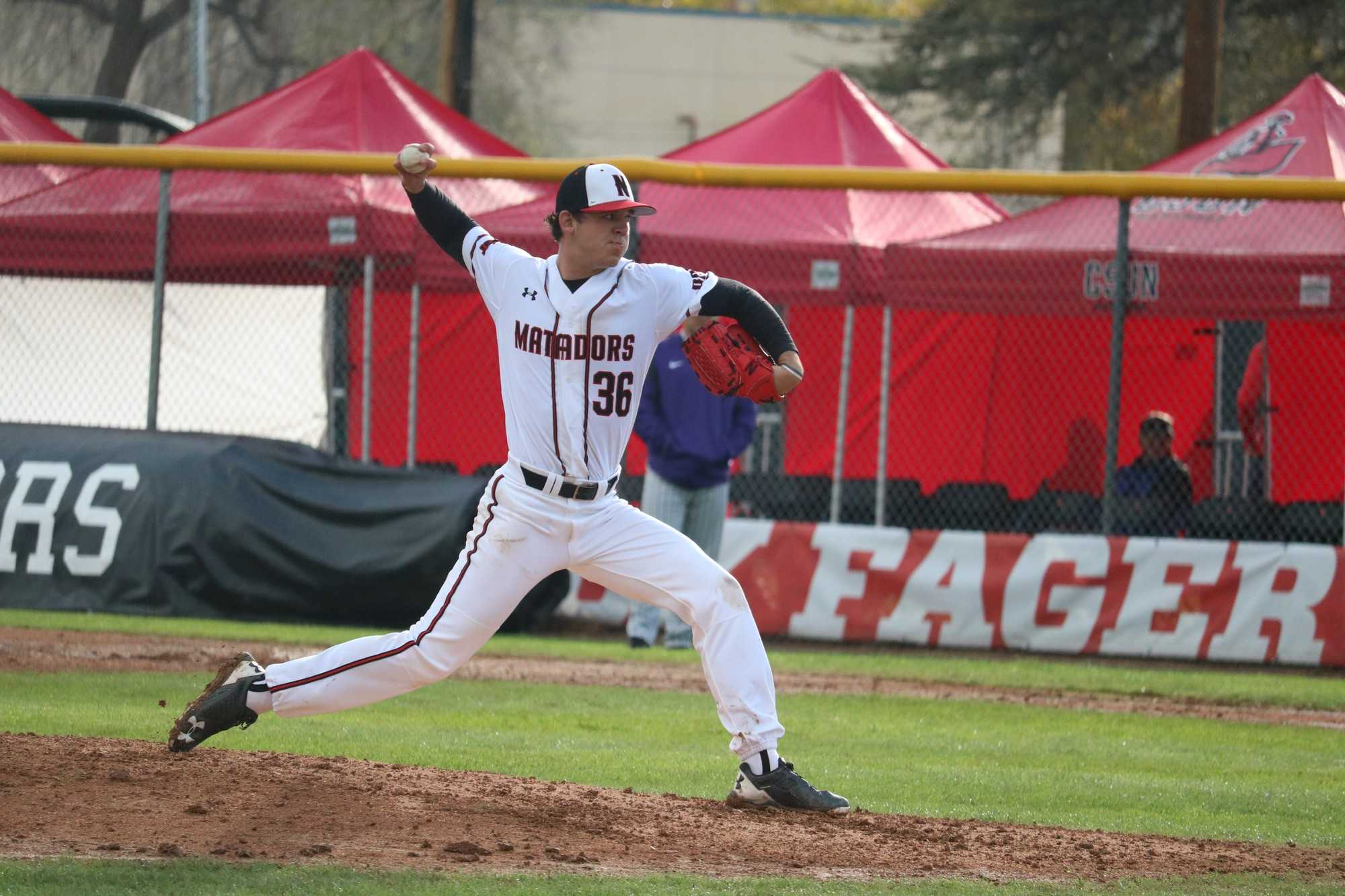 CSUN's junior right handed pitcher, Andrew Weston tries to strike out the Portland Pilots, on Saturday, February 18th, at the Matador Field. Photo credit: Lauren Valencia