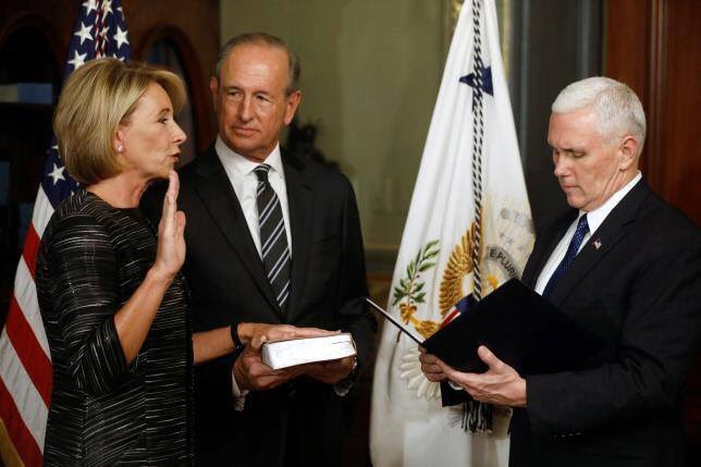 Betsy+DeVos+pictured+being+sworn+in