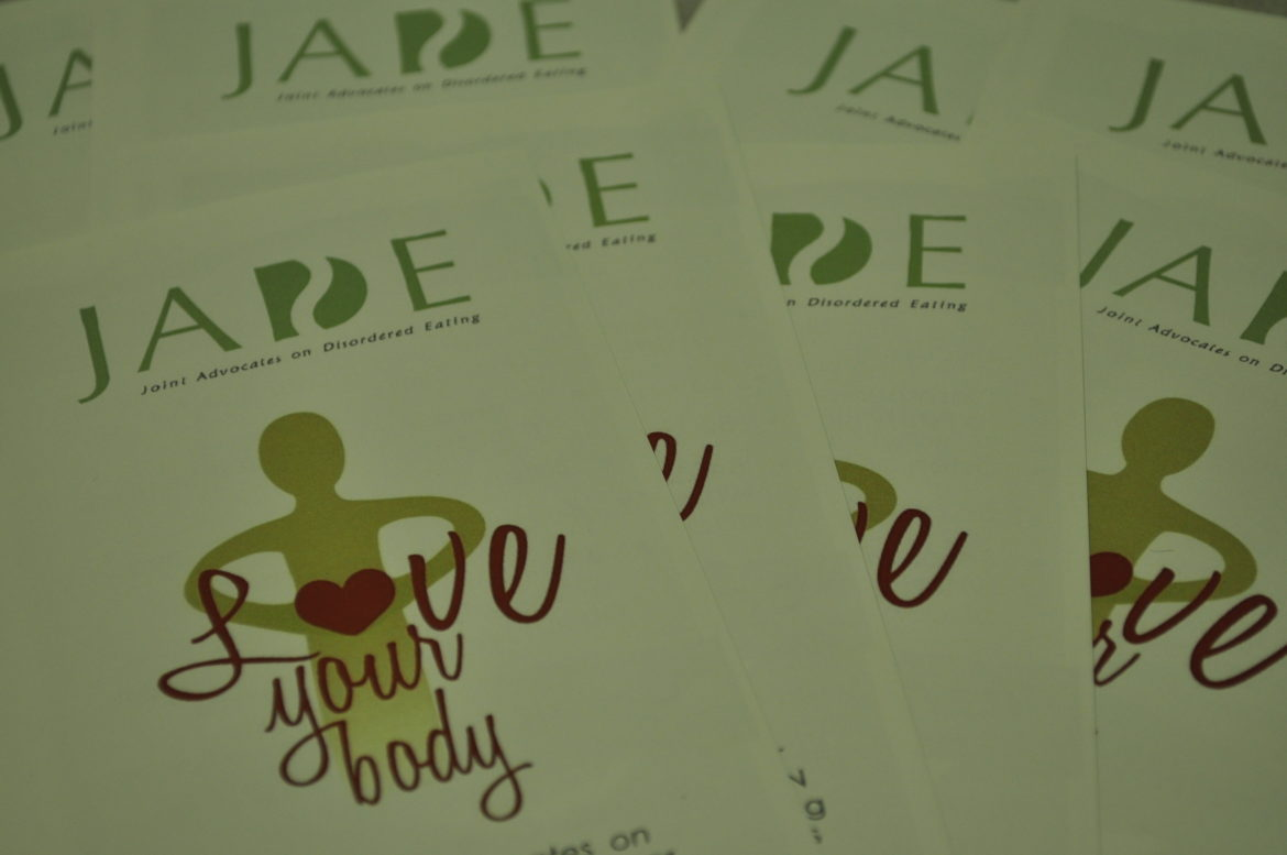Pamphlets for the JADE peer education group, that focuses on the awareness and prevention of eating disorders. Photo credit: Nate Graham