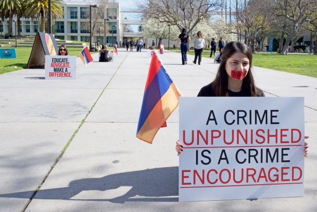 All Armenian Students Organization silent protest to raise awareness for history of their people