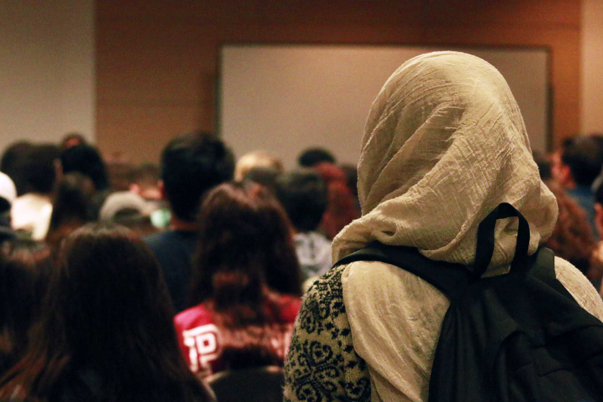 Many Islamic students wearing their traditional hijab came in numbers to support the lecture. Photo credit: Nate Graham
