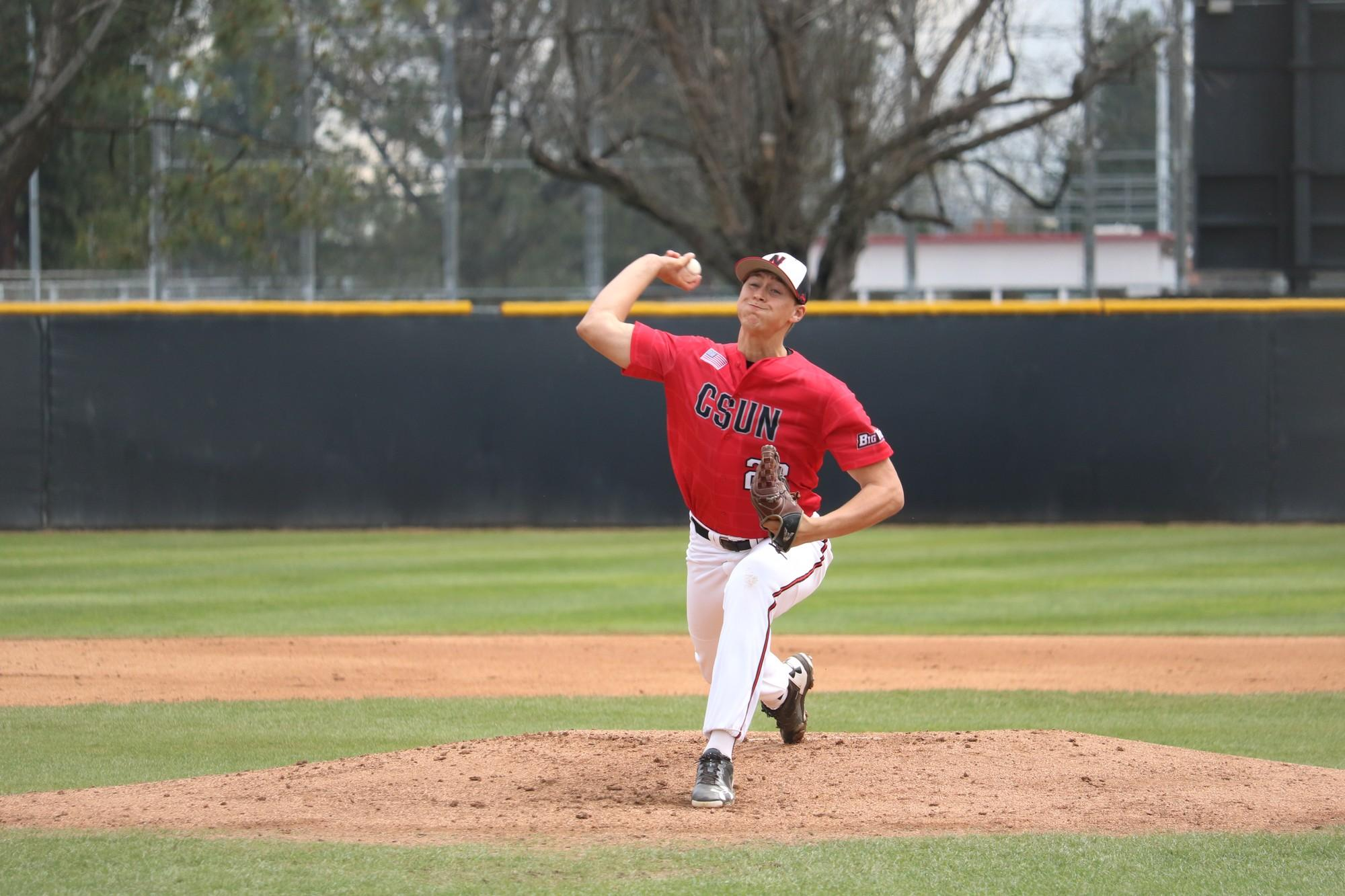 CSUN's sophomore right handed pitcher, Matt Campbell, pitches during the second inning against the Towson Tigers, on Sunday, Feb. 26, at the Matador Field. Photo credit: Lauren Valencia
