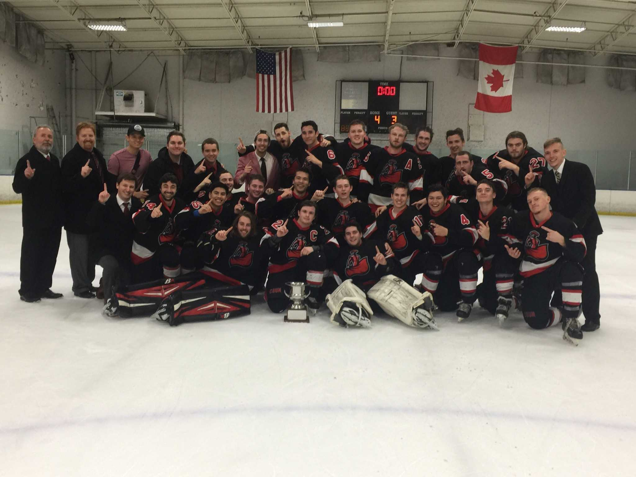 Matadors' players and coaches smile big after being crowned the West Coast Hockey Conference Champions Saturday afternoon at the Iceoplex in Simi Valley. Photo credit: Solomon Ladvienka