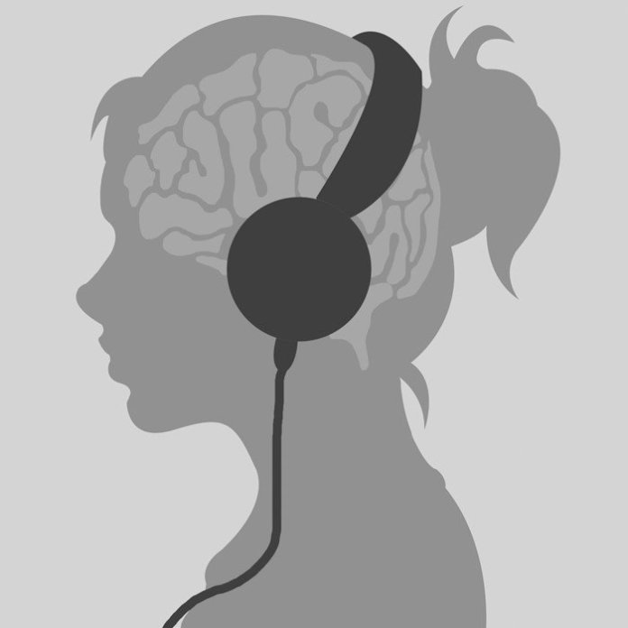Illustration depicting a woman listening to music with her headphones one. An illustrated brain is shown.