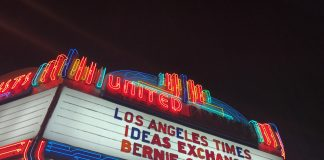 "Movie theater show list says, ""los angeles times ideas exchange bernie sanders"""