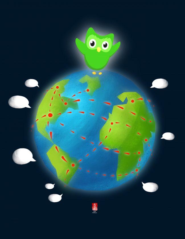 Duolingo logo shows a bird perched on a globe