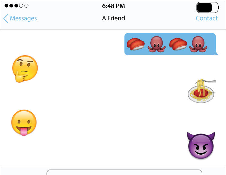 This+illustration+depicts+a+conversation+between+two+people+trying+to+choose+between+eating+sushi+or+Italian+food%2C+using+emoji.+%28Kyle+Johnson%2F+The+Sundial%29