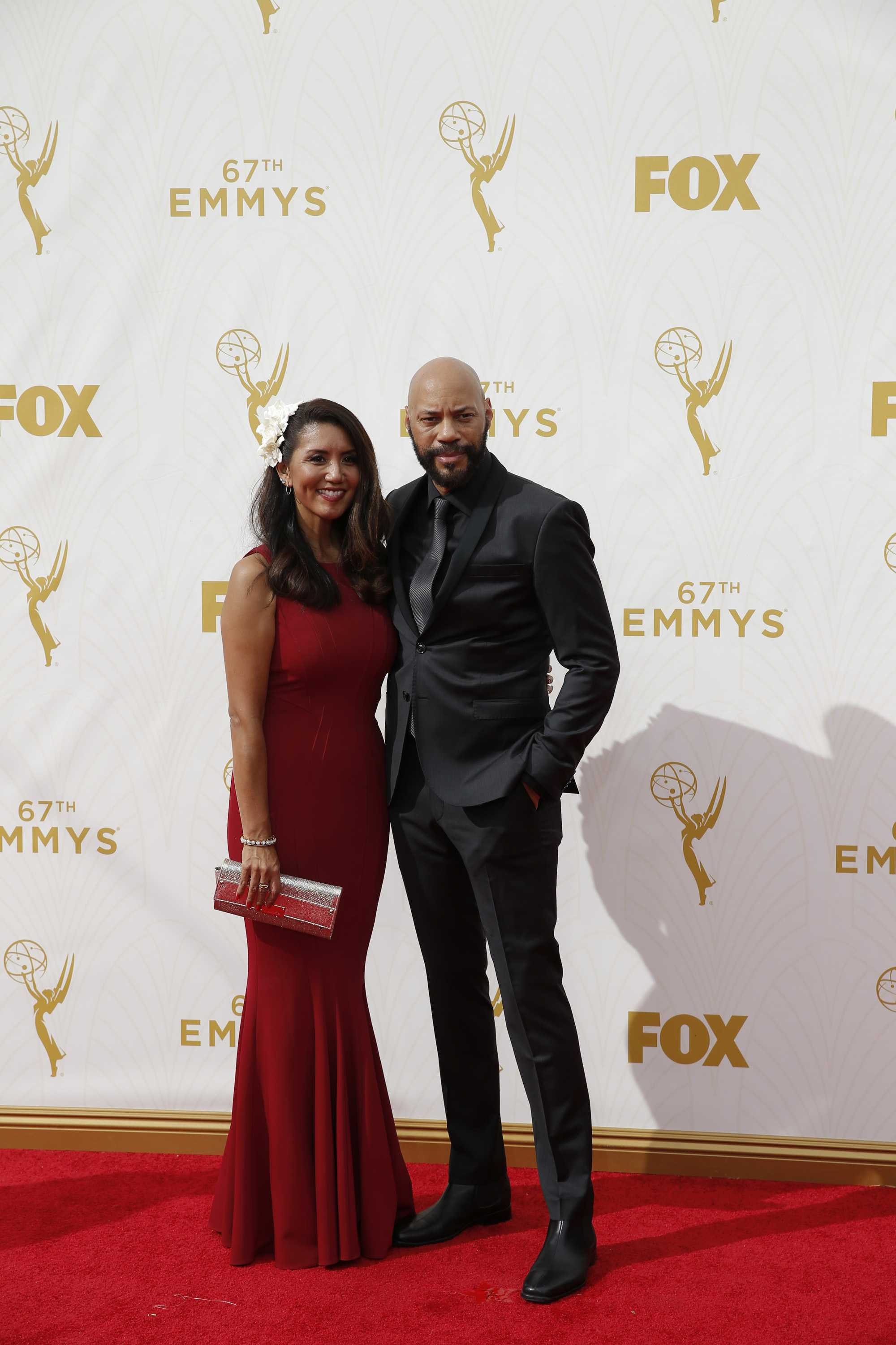 Gayle and John Ridley arrive for the 67th Annual Primetime Emmy Awards at the Microsoft Theater in Los Angeles on Sunday, Sept. 20, 2015. (Jay L. Clendenin/Los Angeles Times/TNS)