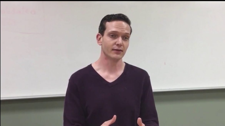 Still of CSUN poli sci professor during interview