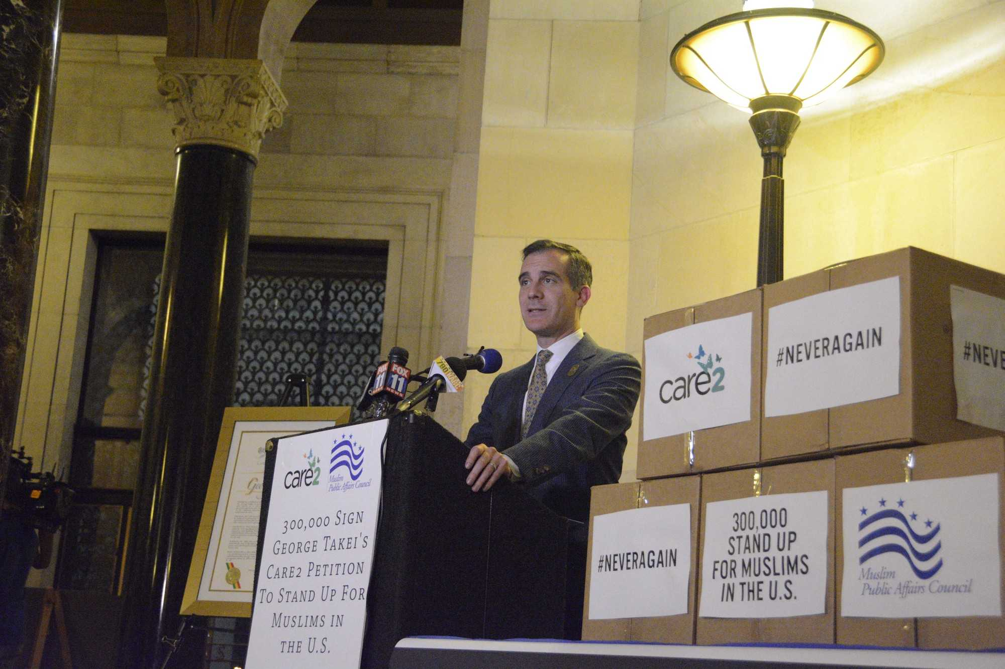 Los Angeles Mayor Eric Garcetti voiced his concern regarding the safety of the Muslim community and supports George Takei's petition in efforts to protect the community. Photo credit: Nathalie Ramirez