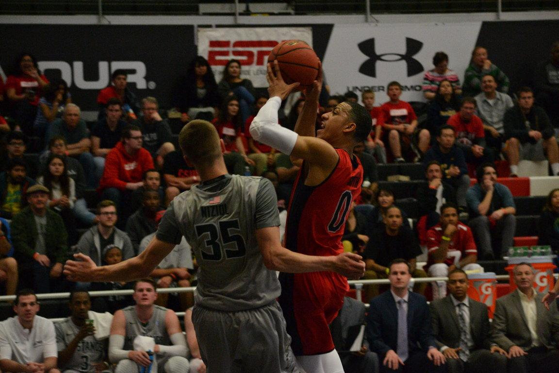 CSUN%27s+junior+guard%2C+Kendall+Smith%2C+going+up+for+a+shot+at+the+game+on+Wednesday%2C+February+15th.+Photo+Credit%3A+Breaunne+Pinckney%2FThe+Sundial