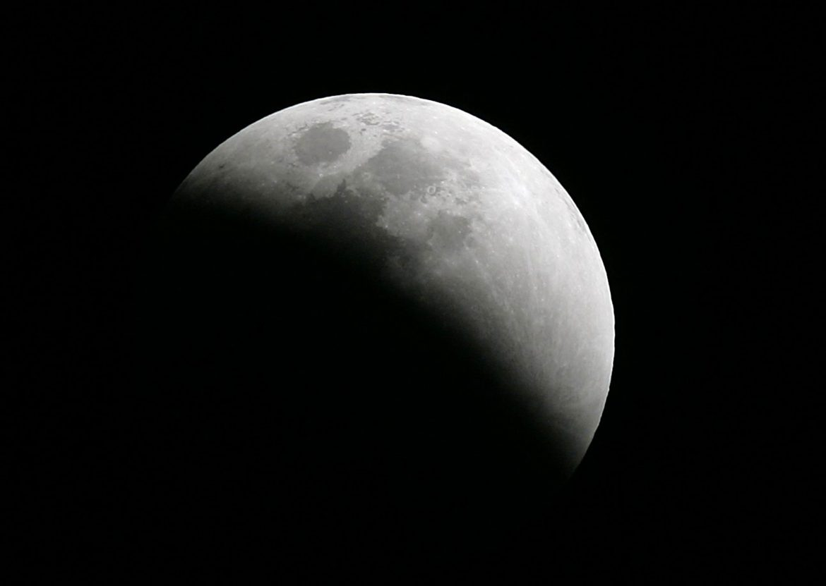 Photo shows the moon during a lunar eclipse