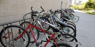 the bike rack next to manzanita hall